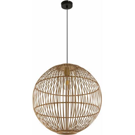 Pendule plafonnier style boho salon bambou tresse boule filament suspension dans un ensemble comprenant des ampoules LED