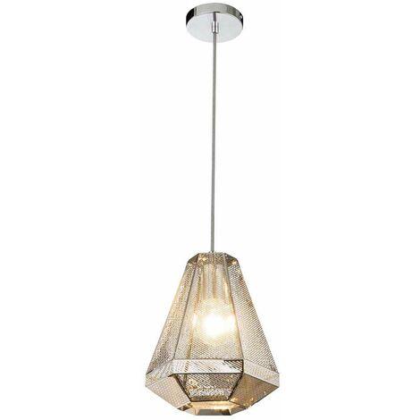 Péndulo de techo Lámpara colgante Luminaria Metal Cromo Sombra Decoración Salón Comedor