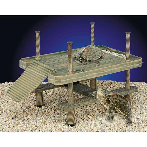 Penn-Plax Grande Tortue Pier pour Une Utilisation dans et Hors de l\'eau Plate-Forme pour Ponton Petite Reptiles