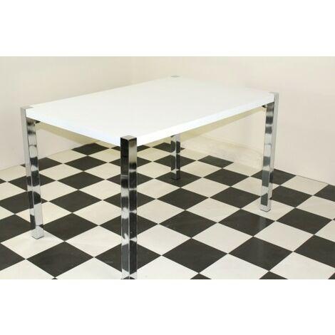 Penny rectangular table with black metal legs, high gloss grey Grey mdf
