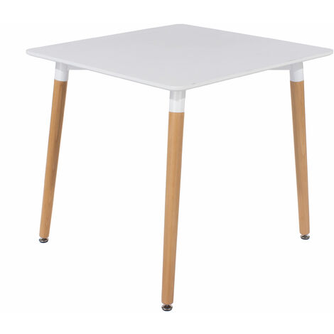 Penny square table wooden legs white