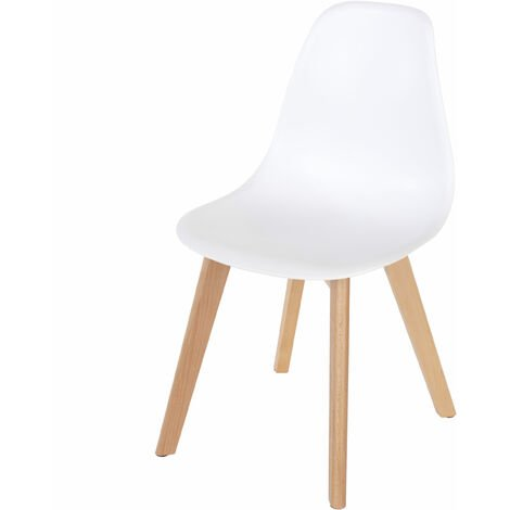 Penny white plastic chairs with wood legs (pair)