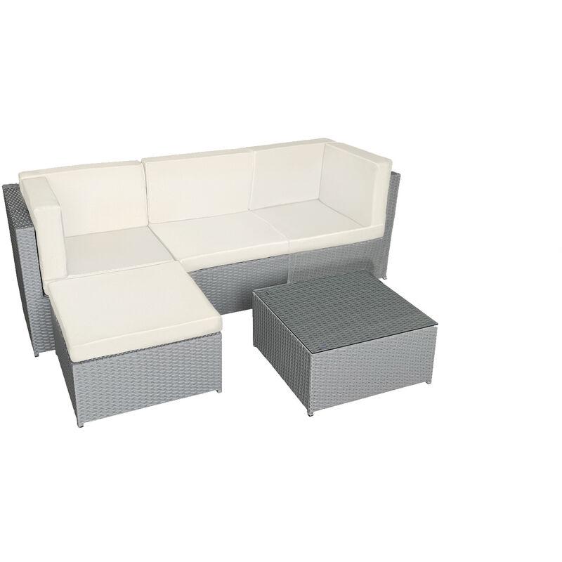 Beneffito - PENSACOLA - Salon de Jardin Résine Tressée 3 Places Modulable - Canapé d'angle - Table Basse Carrée avec Plateau en Verre 60x60 cm