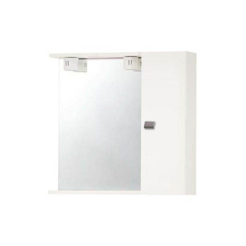 Specchio Bagno Bianco.Pensile Specchio Bagno Con Un Anta Bianco Laccato Ed Illuminazione