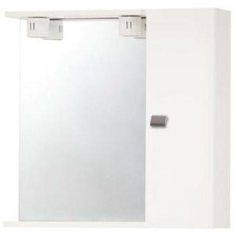 Pensile specchio bagno con un anta bianco laccato ed illuminazione ...