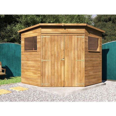 Pent Roof Pressure Treated Wooden Garden Storage Building Workshop - Dad's Corner Shed W2.4m x D2.4m
