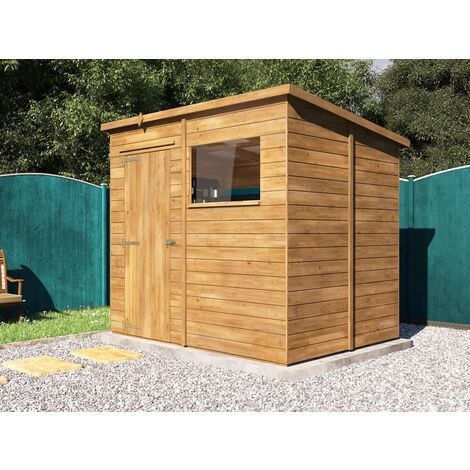 Pent Roof Pressure Treated Wooden Garden Storage Building Workshop - Dad's Shed I W2.4m x D1.8m