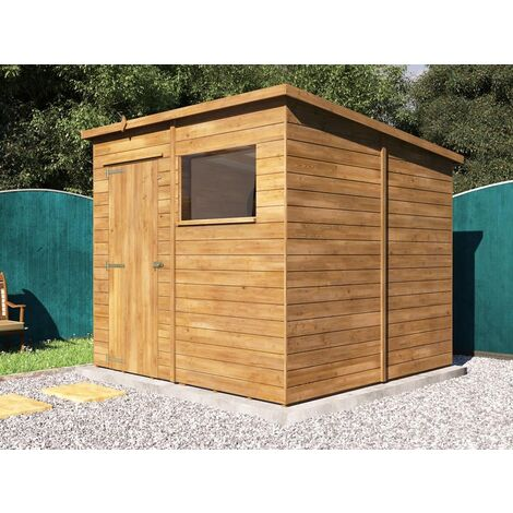 Pent Roof Pressure Treated Wooden Garden Storage Building Workshop - Dad's Shed II W2.4m x D2.4m