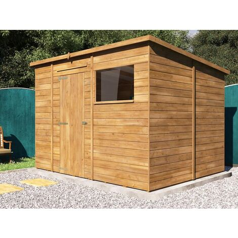 Pent Roof Pressure Treated Wooden Garden Storage Building Workshop - Dad's Shed III W3m x D2.4m
