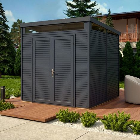 Pent Security Shed 8x8 - Anthracite