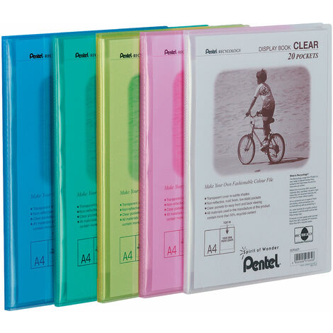 Pentel DCF242/MIX Display Books - Mixed - 20 Pockets - Pack of 5