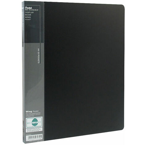 Pentel DCF442A Display Book - Wing - Black - A4 - 20 Pockets