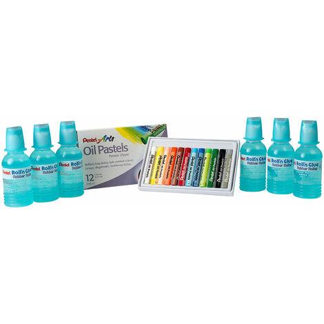 Pentel ER501/24CP Roller Glue Class Pack 24x 55ml Bottles + 12 Free Oil Pastels