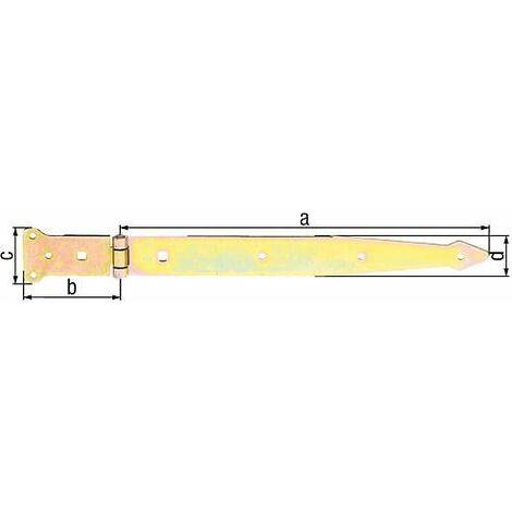 Penture charniere, 400/101x63mm jaune galva