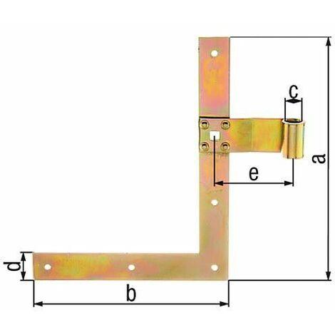Penture équerre de fenetre droite supérieur, 250mm, d13mm, jaune galva