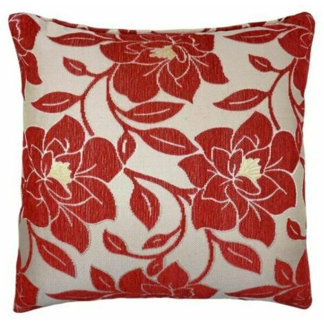 """Peony 18"""" Red Cushion Cover Bed Sofa Accessory Unfilled"""