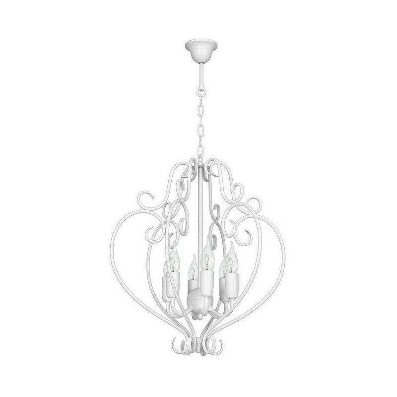 Homemania - Peony Haengelampe - Kronleuchter - Deckenkronleuchter - Weiss aus Metall, 46 x 46 x 80 cm, 6 x E14, 40W