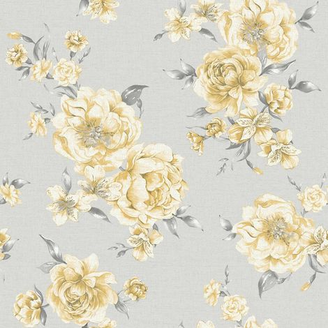 Peony Yellow Light Grey Floral Wallpaper Roses Flowers Painterly Holden Decor