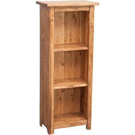 Pequeña biblioteca de estilo Country de madera maciza de tilo acabado con efecto natural L40xPR25xH98 cm