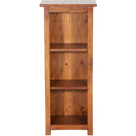 Pequeña biblioteca de estilo Country de madera maciza de tilo acabado con efecto nogal L40xPR25xH98 cm