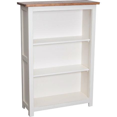 Pequeña biblioteca de estilo Country de madera maciza de tilo armazon blanco envejecido plan acabado con efecto natural 68x25x98