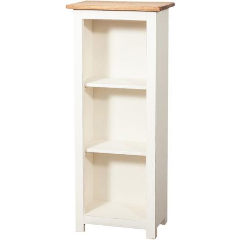 Pequeña biblioteca de estilo Country de madera maciza de tilo armazon blanco envejecido plan acabado con efecto natural