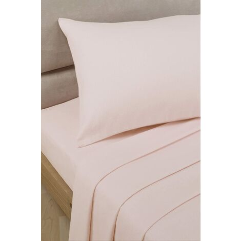 Percale flat sheet - pink - double