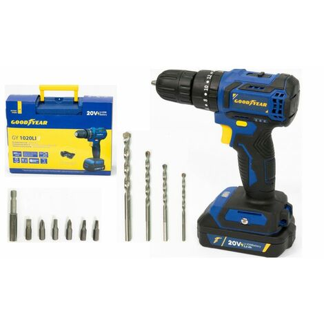 Perceuse à percussion 20V Brushless GOODYEAR Batterie lithium 2000 mAh Malette + 11 Accessoires