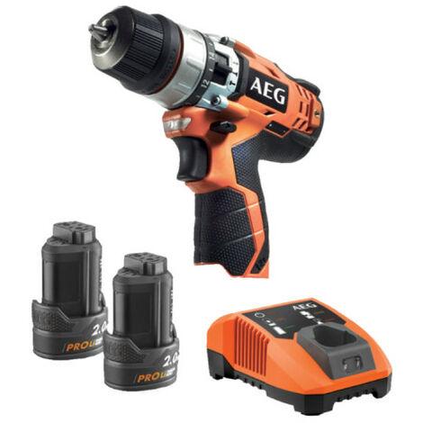 Perceuse à percussion AEG 12V Li-ion - 2 batteries 2.0Ah - 1 chargeur 40min - BSB 12C2 LI-202B