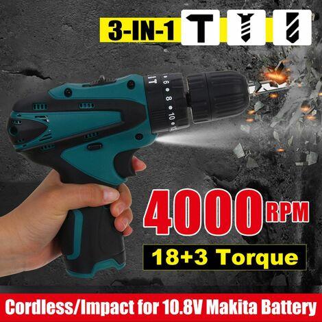 Perceuse à percussion électrique sans fil 5000 tr / min 3-en-1 tournevis 18 + 3 couple pour batterie 10.8V Makita BL1013 BL1014 avec outils électriques de lumière de travail LED