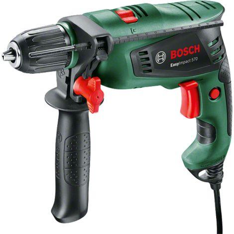 Perceuse à percussion filaire Bosch - EasyImpact 570 avec poignée supplémentaire (570W, béton 10mm, bois 25mm, avec accessoires)