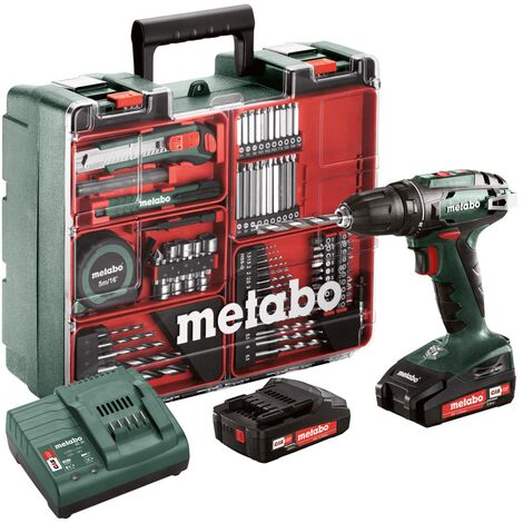 Perceuse à percussion METABO SB 18 SET - 2 batteries 18V 2.0Ah + chargeur + coffret + atelier mobile - 602245880