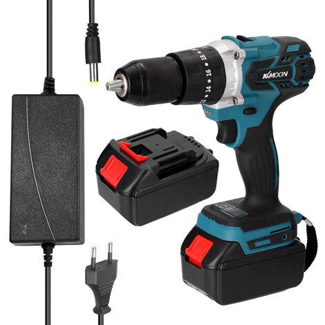Perceuse electrique multifonctionnelle domestique, mini perceuse a percussion, couple reglable dans le sens de rotation, norme europeenne 220V, deux batteries et un chargeur