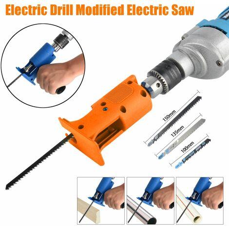 Perceuse électrique Scie électrique modifiée Scie alternative électrique Perceuse électrique pour scie sauteuse Outil de coupe pour le travail du bois avec lame de scie 3PCS (orange)