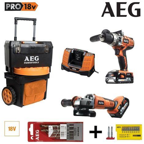Perceuse Percussion + Meuleuse AEG 18V Li-Ion 1 batterie 4.0Ah + 1 batterie 2.0Ah 1 Trolley