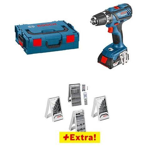 Perceuse visseuse 18V 4Ah GSR 18-2-LI Plus + 63 accessoires Bosch