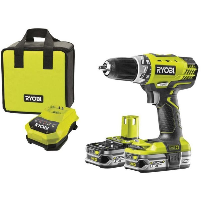 Perceuse visseuse 18V RYOBI RCD18022L + 2 batteries 1,5Ah + Sac de transport