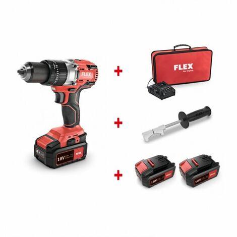 Perceuse/visseuse 2 vitesses 18V PD 2G 18.0-EC FS55 avec porte embouts + chargeur et 2 batteries - FLEX - Perceuse/visseuse 2 vitesses 18V à moteur Brushless PD 2G 18.0-EC FS55