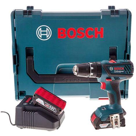 Perceuse visseuse à percussion à batteries 18V Li-Ion set 2 x 2,0 Ah en L-Boxx - BOSCH Bosch GSB 18-2-Li Plus