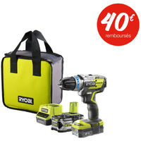 Perceuse-visseuse à percussion brushless RYOBI 18 V OnePlus - 2 batteries LithiumPlus 5Ah - 2Ah - chargeur rapide 2.0Ah - R18PDBL-252S