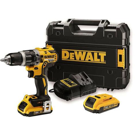 Perceuse visseuse à percussion DEWALT 18V 5.0Ah XR + 2 batteries, chargeur en coffret - DCD796P2