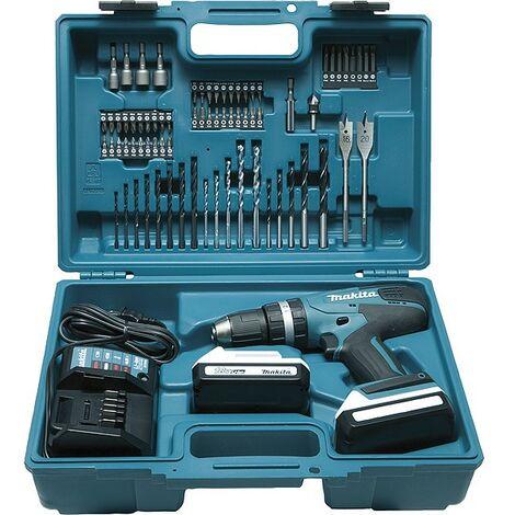 Perceuse visseuse à percussion MAKITA 18V 1.5Ah + Kit d'accessoires - HP457DWE10