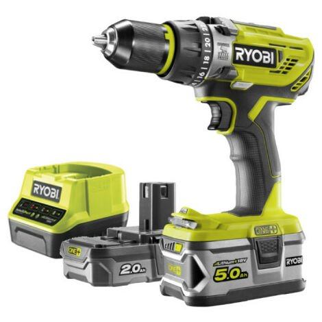 Perceuse-visseuse à percussion RYOBI 18V OnePlus - 2 batteries LithiumPlus 2.0Ah et 5.0Ah - 1 chargeur rapide R18PD31-252S