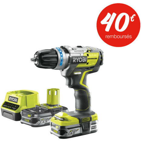 Perceuse-visseuse à percussion RYOBI 18V OnePlus Brushless - Batteries et chargeur rapide - R18PDBL-225S