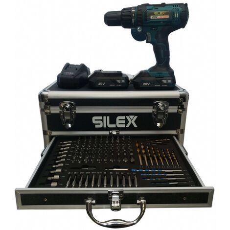 Perceuse visseuse a percussion sans fil 20V avec 2 batteries Li-Ion 2 Ah Silex®