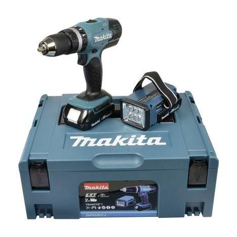 Perceuse-visseuse à percussion sans fil Makita DHP453RYLJ DHP453RYLJ 18 V 1.5 Ah Li-Ion + 2 batteries, + mallette, + lampe sans fil 1 pc(s)