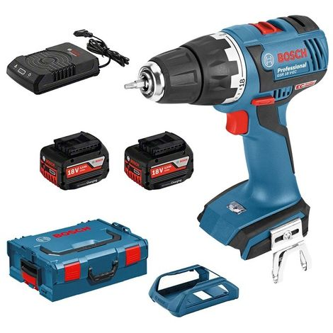 Perceuse-visseuse BOSCH GSR 18 V-EC - 2 Batteries 4,0 Ah à induction 18V, chargeur, coffret - 06019E8105
