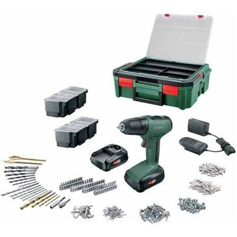 Perceuse-visseuse Bosch - UniversalDrill 18 (Livrée avec 2 batteries 1,5Ah, SystemBox, 241 accessoires)