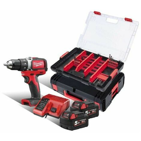 Perceuse visseuse Brushless 18V 5.0AH 60NM avec coffret et accessoires MILWAUKEE - 4933464130