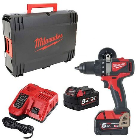 Perceuse Visseuse BRUSHLESS M18 BLDD2-502X Milwaukee avec 2 batteries 5Ah, chargeur, en HDBox